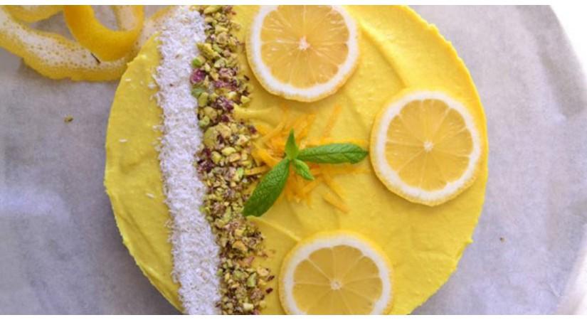 Presna veganska limonina pita ali cheesecake