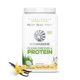 Sunwarrior Clean Greens & protein - presne beljakovine z zelenjavo z okusom vanilije, 750 g